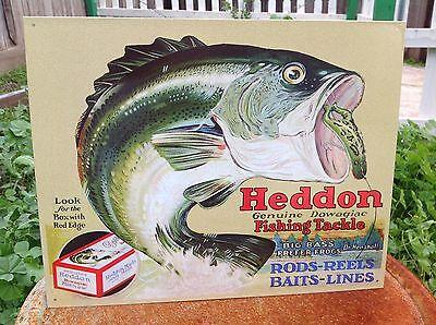 HEDDON GENUINE FISHING TACKLE Tin Sign Wall Bar Garage Decor Classic Vintage
