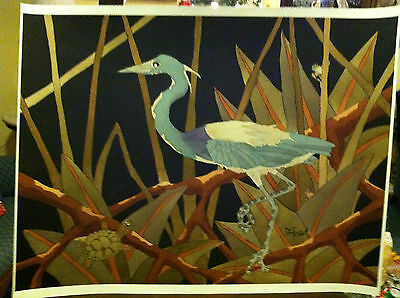 Dan Goad  Tri Colored Heron With Turtle  Signed