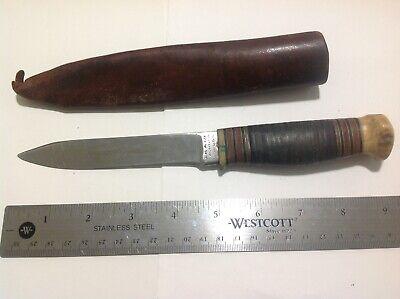 Early MSA knife with sheath . Rare Large MSA Stamp .