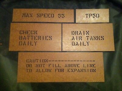 m35a2 Oilboard Stencil Set Deuce and a half m35 military truck m109a3 Army 6x6 for sale  Colchester