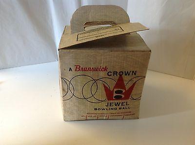 Brunswick Crown Jewel Bowling Ball Box Vintage Blue Pearl 102-78 Cardboard