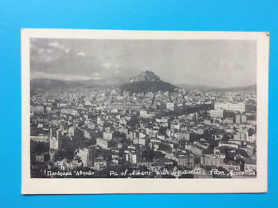 - Partial City View of Athens Greece Acropolis Vintage Postcard Unposted