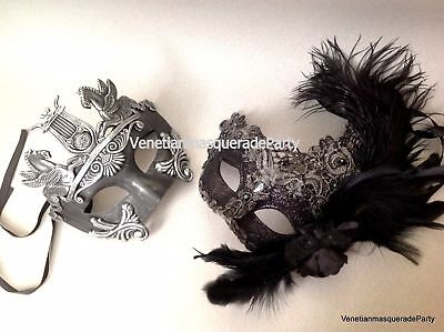 Man and woman feather Roman Gladiator Black Lace Masquerade ball prom Thor Mask
