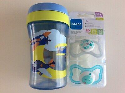 Mam Air 16+ 2er Schnuller Nuckel Neu + NUK Trinkflasche Beruhigungssauger Baby