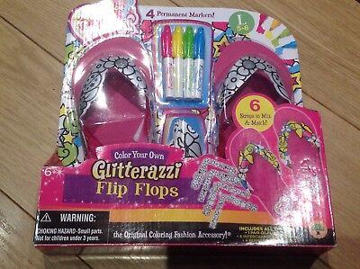 Glitterazzi Pens Strap Design Your Own Flip Flops Girls Shoes Size L 5-6 - Design Your Own Flip Flops