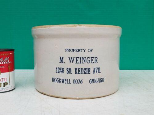 Western Stoneware Co Monmouth Advertising Butter Jar Crock  M WEINGER CHICAGO