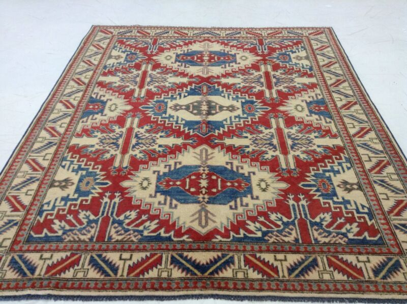 6 X 8 Red Geometric Persian Oriental Area Rug New Hand Knotted Study Carpet
