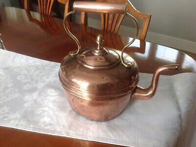 Acorn vintage copper kettle with brass handle. Well used condition See photos.