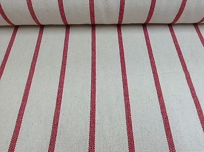 - Cannes Cream/Red Heavy Woven Striped Cotton Upholstery/Curtain Fabric