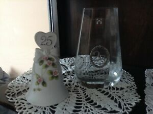 25th Anniversary Musical Bell and Crystal Vase
