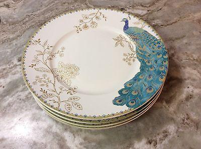 Peacock Garden Dinner Plates. Beautiful. Set Of 4. 222 Fifth. Porcelain. New.