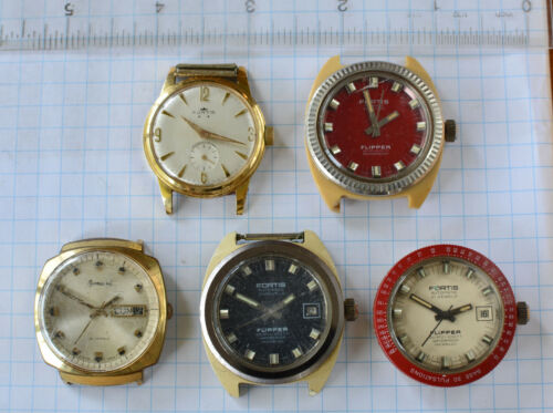 5-lot FORTIS Wristwatch for Parts or Repair Craft Mechanical 1960s incl FLIPPER