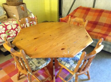 Wooden four place table and chairs