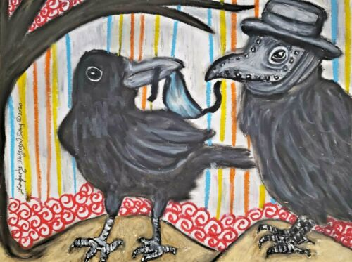 Crow Collectible Art Pint 5 x 7 Signed Vintage Style Plague Doctor Steampunk