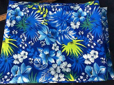 Hawaiian tropical flowers hibiscus leaves blue poly cotton fabric,59