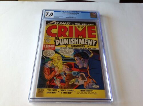 CRIME AND PUNISHMENT 28 CGC 7.0 WHITE 2ND HIGHEST GRADED COPY LEV GLEASON COMICS