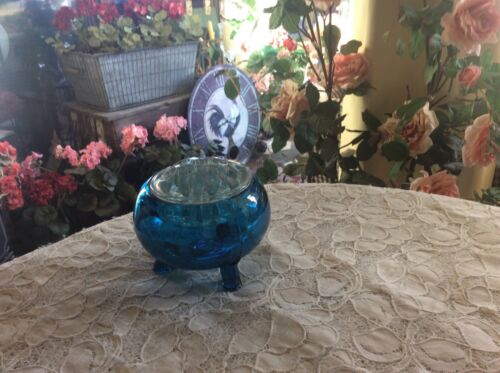 Vintage Viking Blue Glass 3 Footed Floral Bowl with crystal flower frog