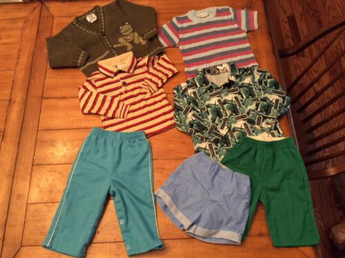 7 Piece Lot retro Vintage mid century Boy Clothes bottoms pants tee tops 2T