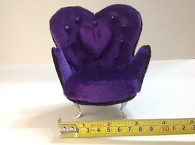 Dollhouse Furniture Purple & Black Velvet Armchair 1:6 (Barbie/Monster HighSize)