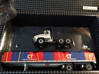 Mack ch w/ spread axle flatbed taped load pem very nice  1/64