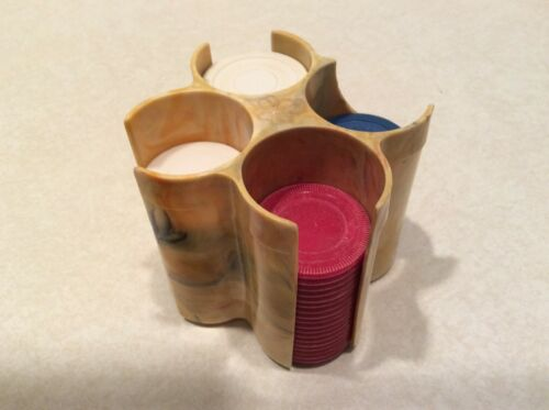 Vintage bakelite?plastic poker chips caddy with chips