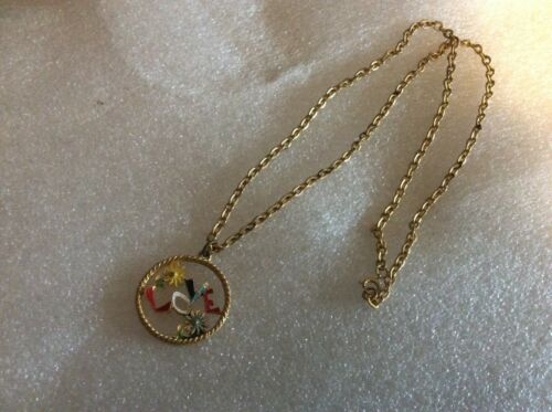 Vintage Enamel Love with Flowers Necklace