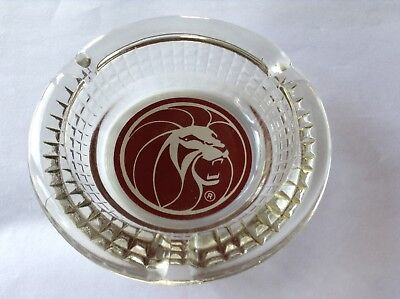 Vintage Las Vegas MGM Grand Hotel and Casino Glass Lion ASHTRAY