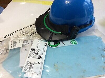 Msa Hardhat Plastic Face Shield Frame Black And Google Retaining Ring Great