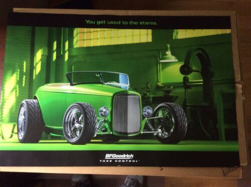 ORIGINAL BF GOODRICH POSTER SIGN HIGHBOY GREEN ROADSTER COUPE