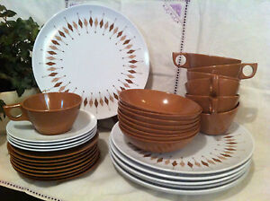 TEXAS WARE Melmac/Melamine LEAVES Brown DINNERWARE Plate/Cup/Bowl/Salad/Butter