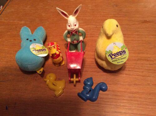 Vintage Toys Bunny Wheel  Barrel Walking Ducks Peeps Cookie Cutters