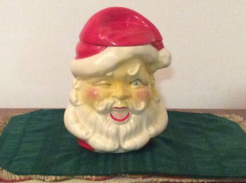 Vintage American Bisque Winking Santa Cookie Jar, Rare