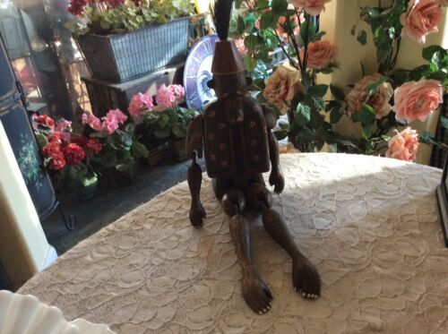 Wood Articulated Monkey  Wooden Carved Figurines High End