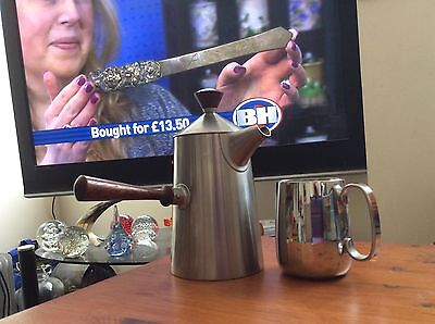 OLD HALL  R. WELCH POLISHED  STEEL CUP & 'CAMPDEN' TEA/COFFEE POT.