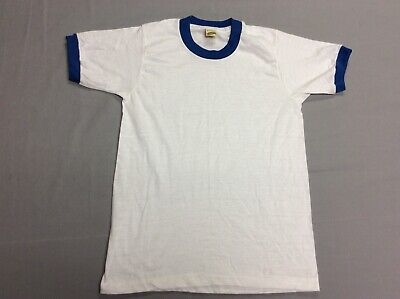 VINTAGE 80S SCREEN STARS BLANK WHITE BLUE RINGER 50/50 T-SHIRT YOUTH KIDS LARGE Blue Kids Ringer T-shirt
