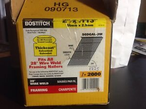 "Box of Bostitch framing nails 2"" x .113, for air nailer"