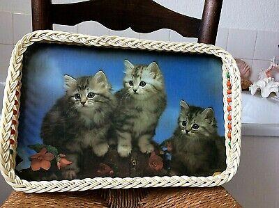 vintage 1960/70's woven & beaded edged fluffy kitten large tray - kitsch