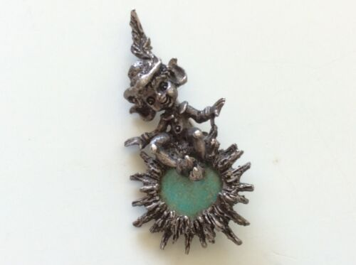 Vintage CYVRA Sterling Silver PIN BROOCH Turquoise Jelly Belly Pixie Fairy Elf *