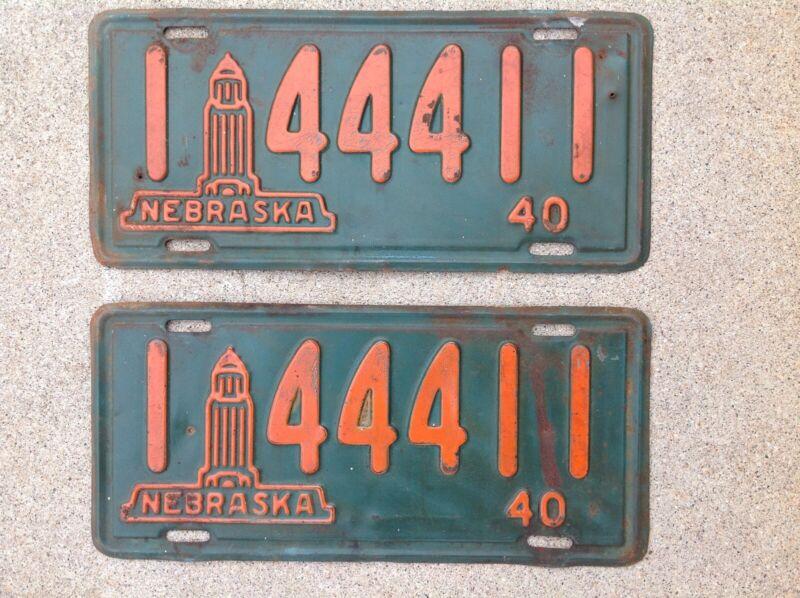 (2) - MATCHING PAIR 1940 NEBRASKA LICENSE PLATES