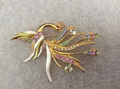 Vintage Enamel & Multi Rhinestone Fancy Bird Pin