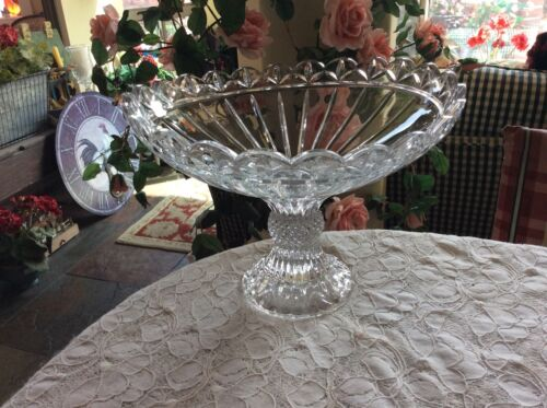 Heavy Lead Crystal Compote Centerpiece Diamond Point Pedestal Bowl