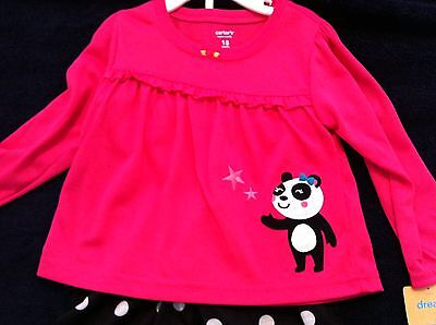 Carter's 2 pc Pajamas Pink Top Panda Black Pants Polka Dots Long Sleeved 18M NWT