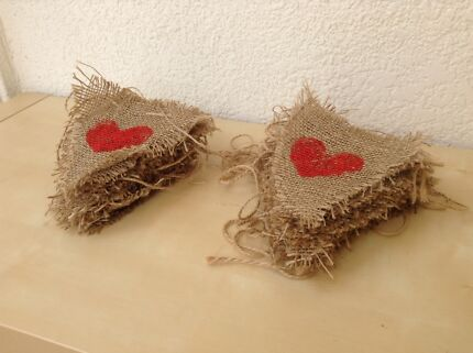 DIY heart stamped hessian bunting flags (wedding, rustic, vintage) Erskineville Inner Sydney Preview