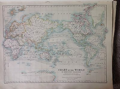 The Chart Of The World or The Hemispheres Antique Map 1891 Large 2 Sided Atlas