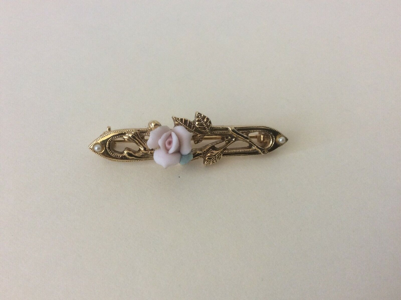Vintage 1928 Unmarked Pink Porcelain Rose Faux Seed Pearl Brooch Pin - $14.00