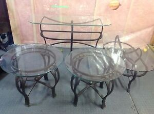 4 piece glass and iron table set