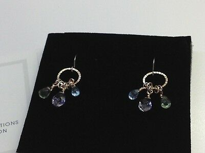 - NWT Iolite/Green Amethyst/Blue Topaz on Hand Textured Hammered Hoop Earrings