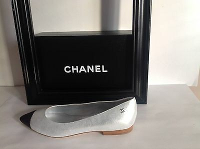 CHANEL CC Logo Black Pointed Cap Toe Silver Leather Flats Ballet Pumps Shoes New