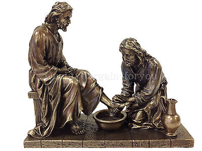 Jesus Christ Sculpture Washing Disciples Feet Statue Figure
