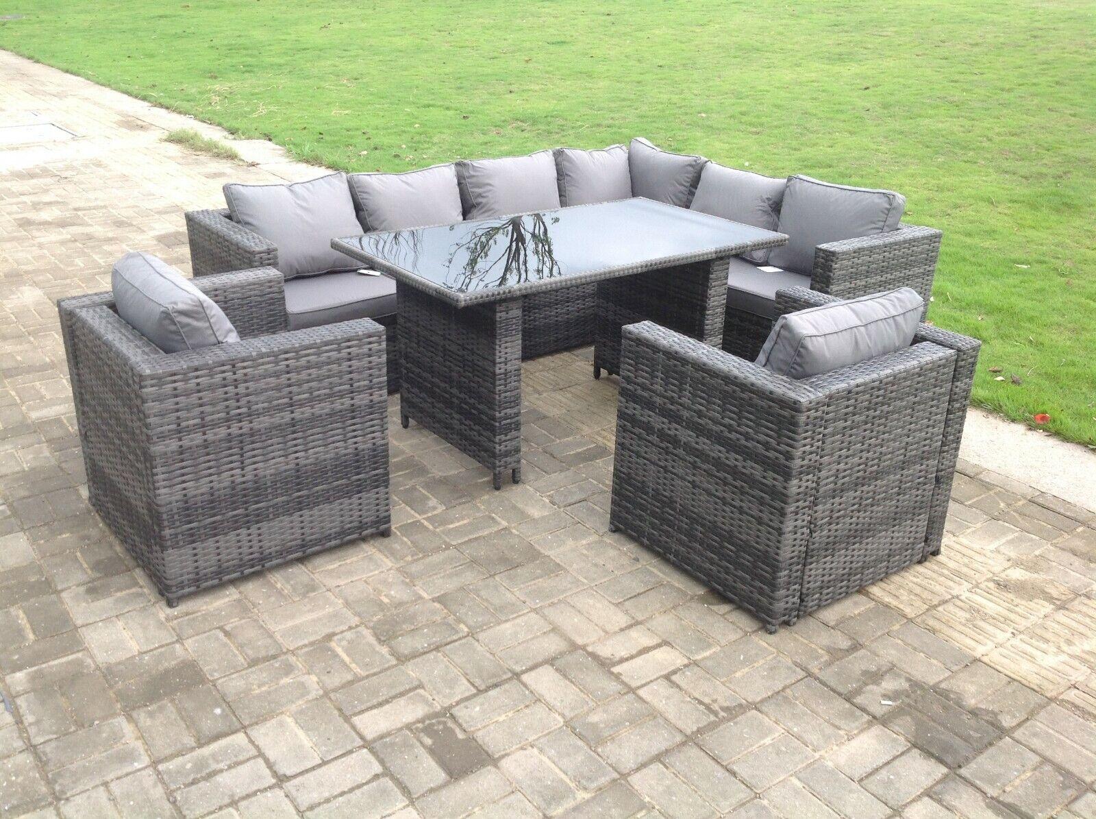 Garden Furniture - Right arm 8 seat rattan sofa table chair furniture set outdoor garden furniture